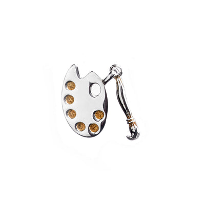 Artiste Brush And Easel Sterling Silver Gold Charm