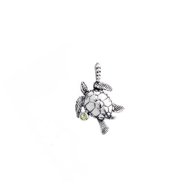 Sea Turtle Sterling Silver And Peridot Charm