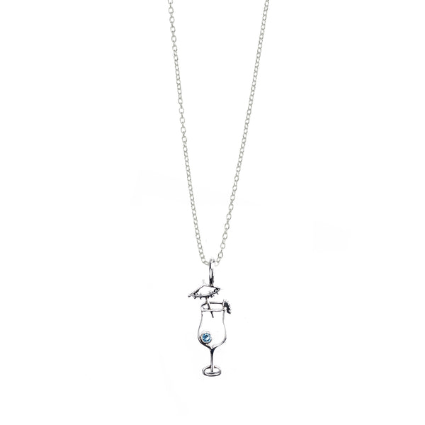 I'll Have A Daiquiri Sterling Silver Blue Topaz Charm
