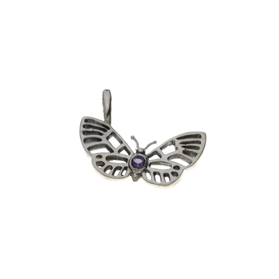 Butterflies And Free Sterling Silver Amethyst Charm