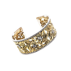 Secret Garden Sterling Silver Bronze Cuff - Cynthia Gale New York Jewelry