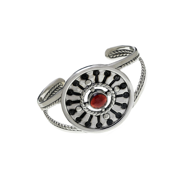 Kamon Statement Sterling Silver And Garnet Cuff - Cynthia Gale New York Jewelry