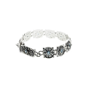 Dharmachakra Noble Truth Sterling Silver & Blue Topaz Bracelet - Cynthia Gale New York - 2