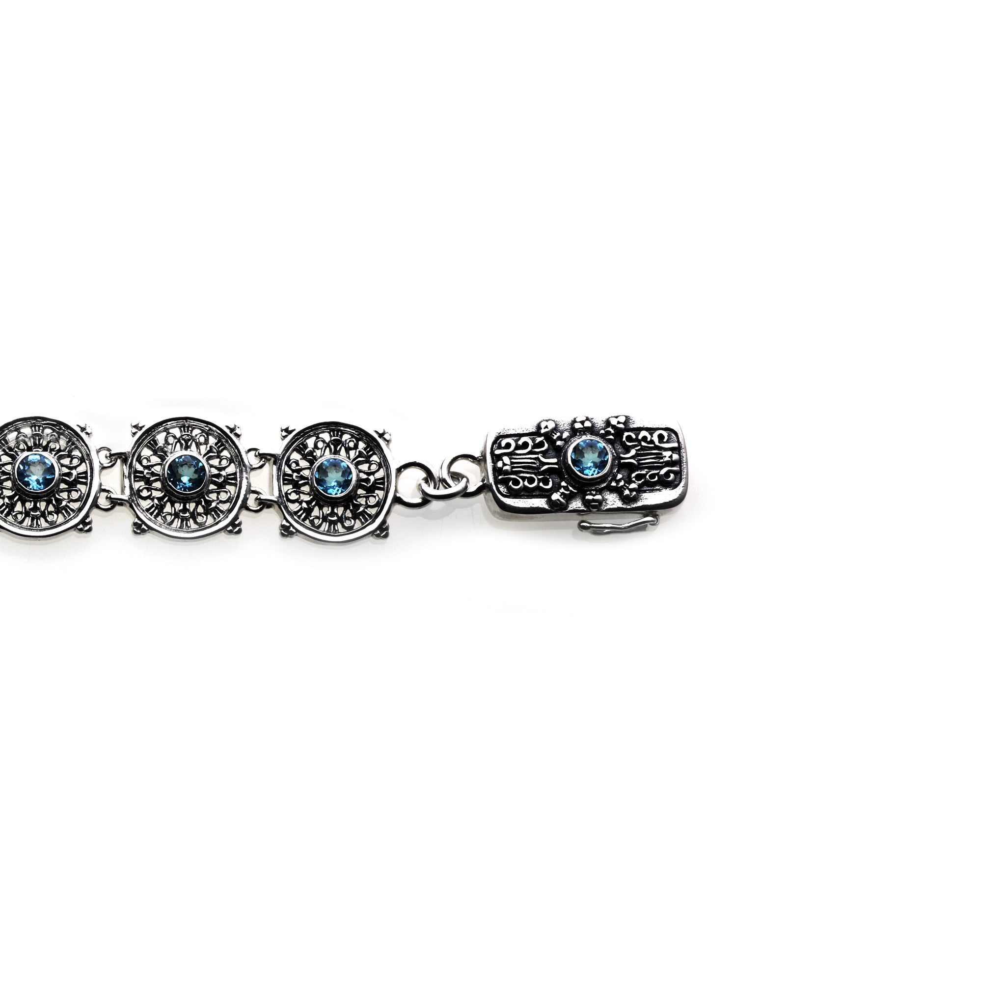 Dharmachakra Noble Truth Sterling Silver & Blue Topaz Bracelet   Cynthia Gale New York  4