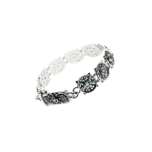 Dharmachakra Noble Truth Sterling Silver & Blue Topaz Bracelet - Cynthia Gale New York - 1