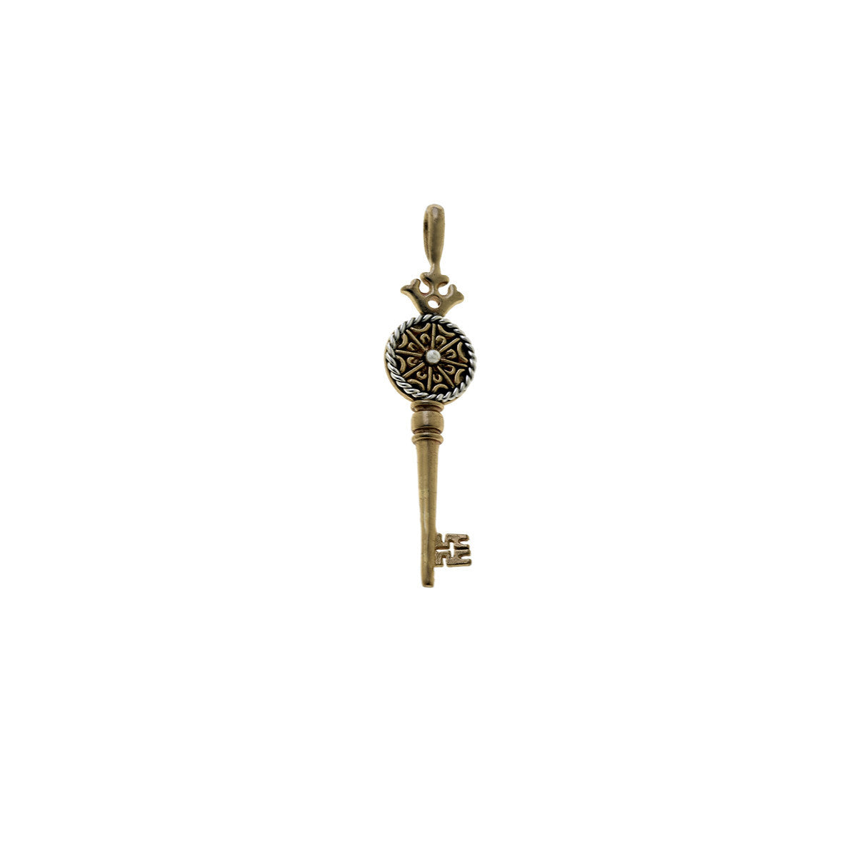 Barnes Metalwork Bronze Sterling Silver Decorative Key Charm - Cynthia Gale New York Jewelry