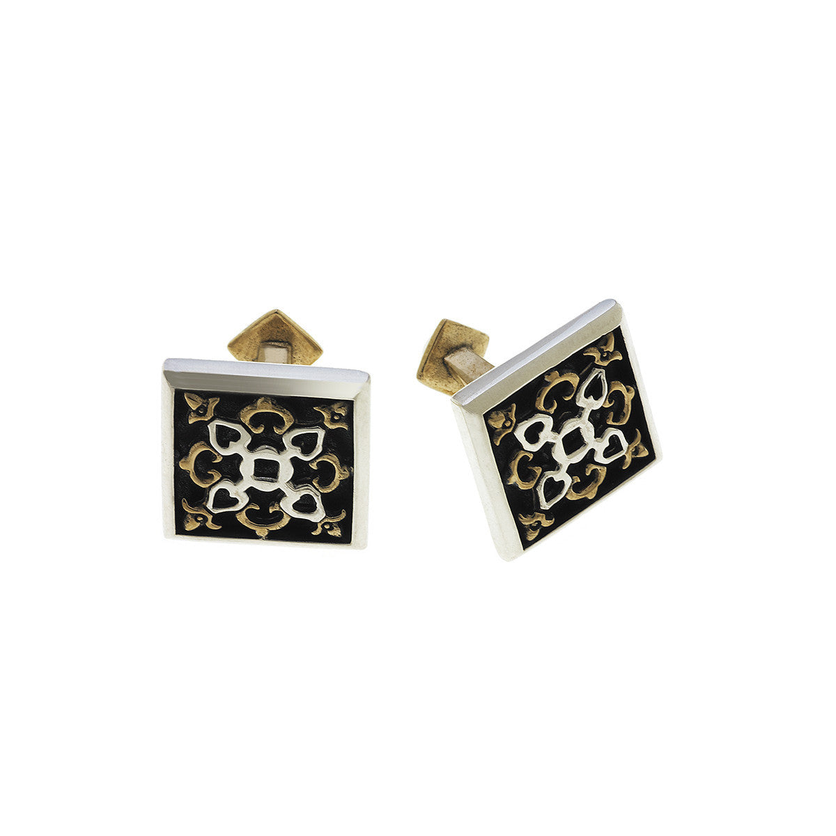 Barnes Metalwork Antique Bronze Sterling Silver Cufflinks - Cynthia Gale New York Jewelry