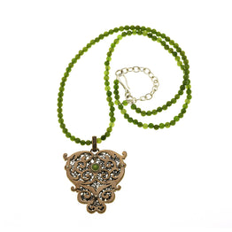 Barnes Metalwork Bronze Sterling Silver Jade Necklace - Cynthia Gale New York Jewelry