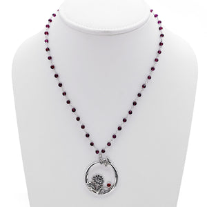 William Morris Hyacinth Sterling Silver Garnet Necklace - Cynthia Gale New York Jewelry