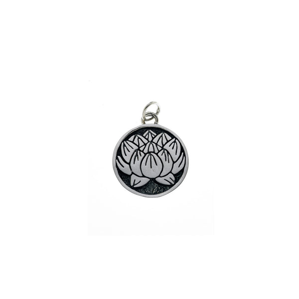 Ceremonial Kamon Sterling Silver July Lotus Charm - Cynthia Gale New York Jewelry