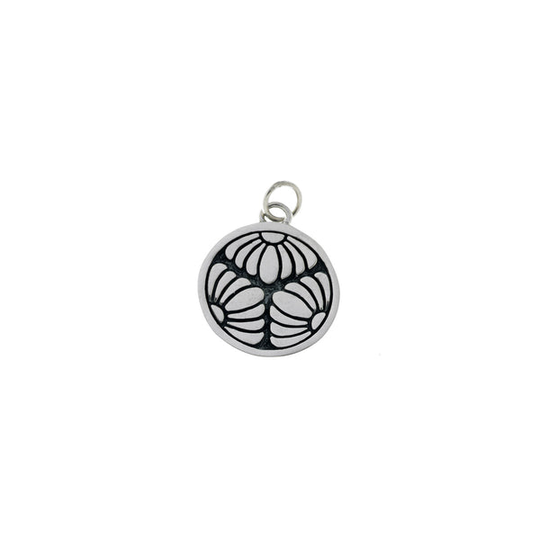 Ceremonial Kamon Sterling Silver October Chrysanthemum Charm - Cynthia Gale New York Jewelry