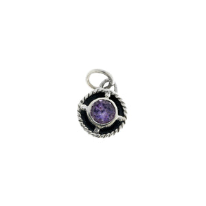 Kamon Sterling Silver And Amethyst February Charm - Cynthia Gale New York Jewelry