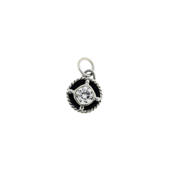 Kamon Sterling Silver And White Topaz April Charm - Cynthia Gale New York Jewelry