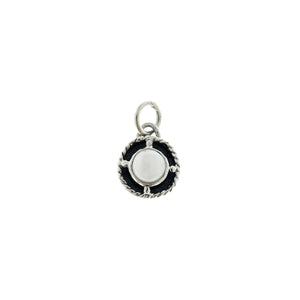 Kamon Sterling Silver And White Pearl June Charm - Cynthia Gale New York Jewelry
