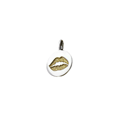 Kiss Kiss Golden Lips Sterling Silver Gold Charm - Cynthia Gale New York Jewelry