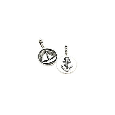 Come Sail Away Sailboat/Anchor Sterling Silver Charm - Cynthia Gale New York Jewelry