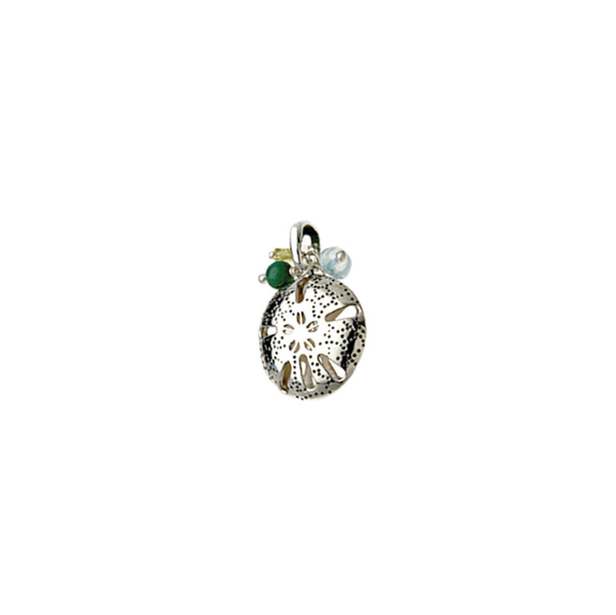 Beaches Sand Dollar Sterling Silver Gemstone Charm