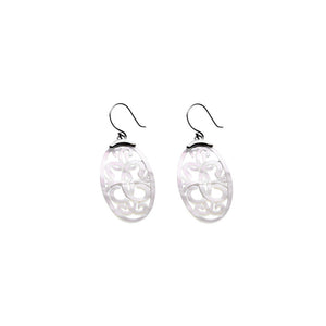 Love Letters Sterling Silver Mother Of Pearl Oval Drop Earring - Cynthia Gale New York - 1