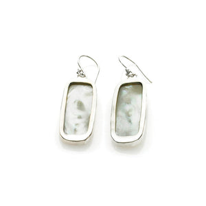 Love Letters Sterling Silver Mother Of Pearl Rectangle Earring - Cynthia Gale New York Jewelry