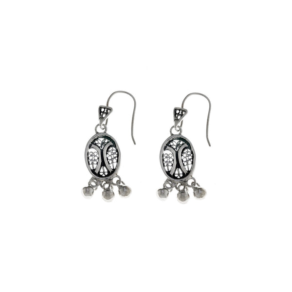 Belle Nouveau Small Oval Sterling Silver Drop Earring - Cynthia Gale New York - 1