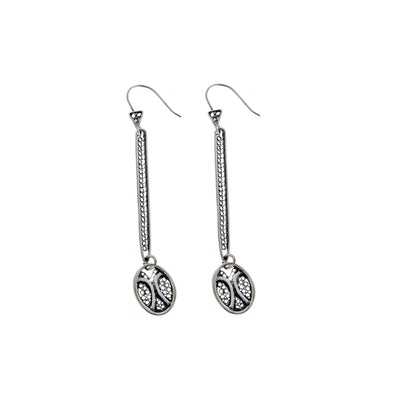 Belle Nouveau Oval Stiletto Sterling Silver Drop Earring - Cynthia Gale New York Jewelry