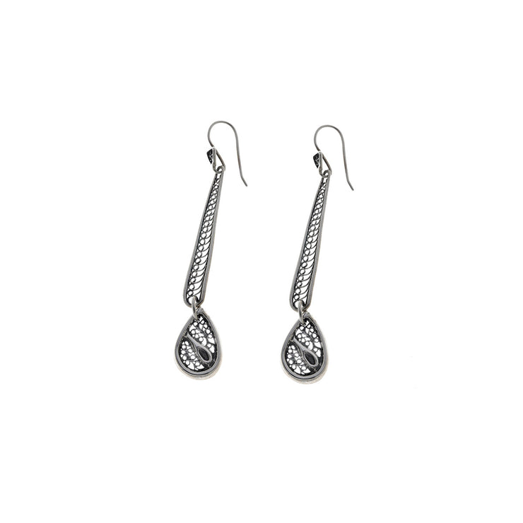 Belle Nouveau Teardrop Stiletto Sterling Silver Earring - Cynthia Gale New York - 1