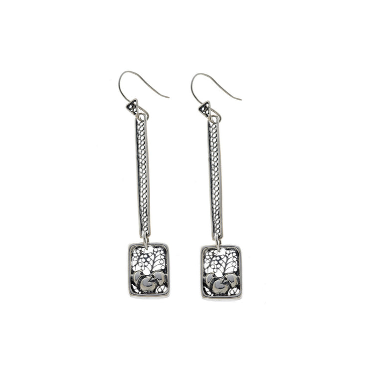 Belle Nouveau Rectangle Stiletto Sterling Silver Earring - Cynthia Gale New York Jewelry