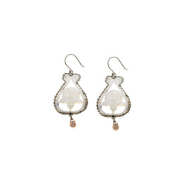 Orient Fleur Rose Sterling Silver Pearl Drop Earring - Cynthia Gale New York Jewelry