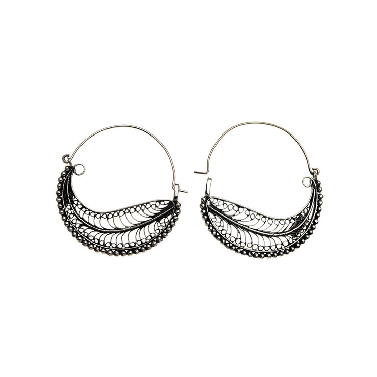 Chand Bali Large Feather Sterling Silver Hoop Earring - Cynthia Gale New York Jewelry