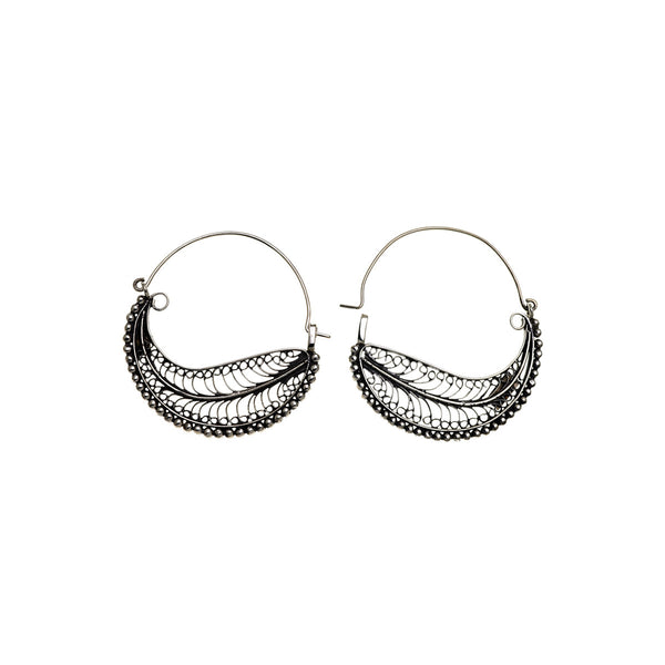 Chand Bali Small Feather Sterling Silver Hoop Earring - Cynthia Gale New York Jewelry