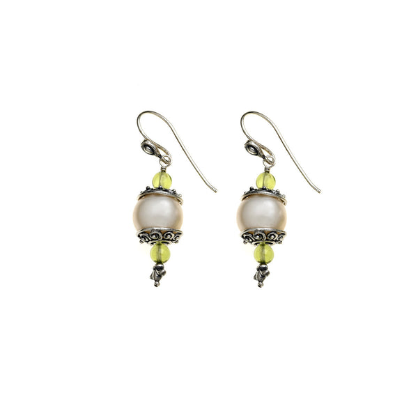 Artknots Sterling Silver Pearl Peridot Drop Earring - Cynthia Gale New York Jewelry