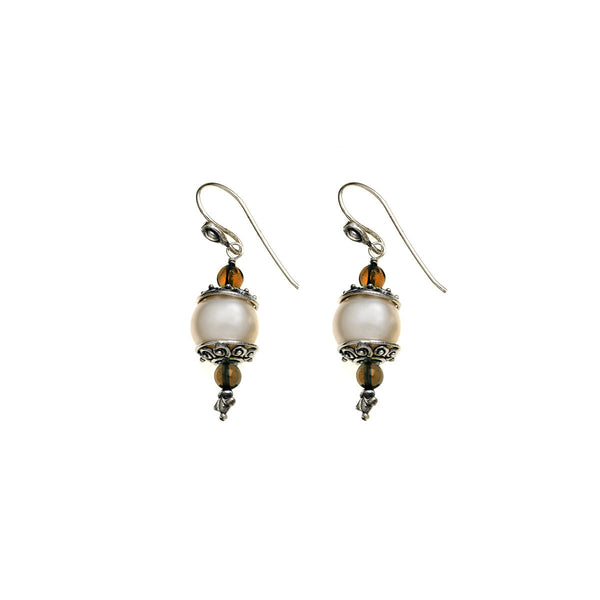 Artknots Sterling Silver Pearl Smokey Topaz Drop Earring - Cynthia Gale New York Jewelry