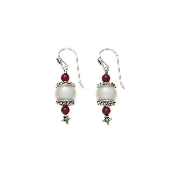 Artknots Sterling Silver Pearl Garnet Drop Earring - Cynthia Gale New York Jewelry