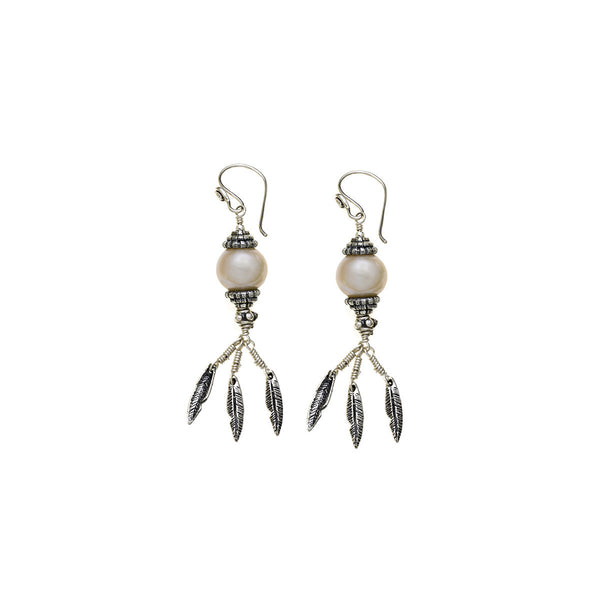 Artknots Feather Sterling Silver Pearl Peridot Drop Earring - Cynthia Gale New York Jewelry