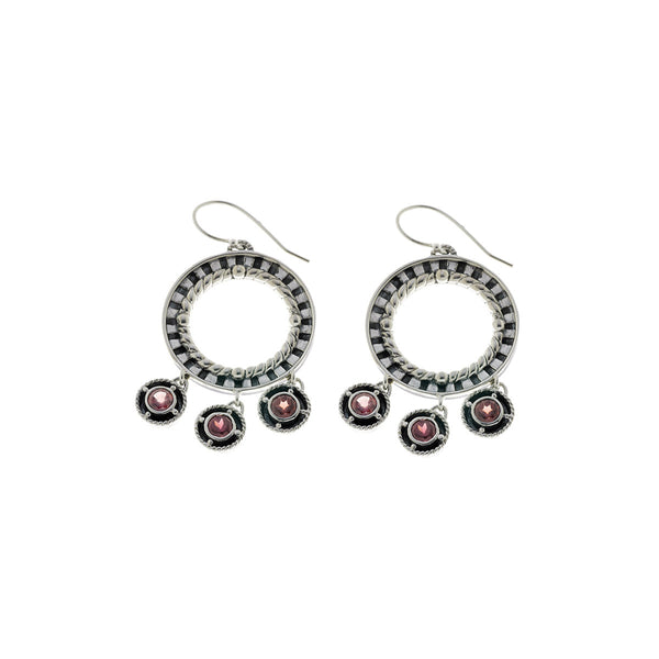 Kamon Sterling Silver And Garnet Drop Earring - Cynthia Gale New York Jewelry