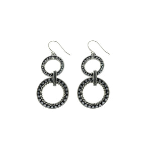 Kamon Circle Of Life Sterling Silver Drop Earring - Cynthia Gale New York Jewelry