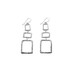 Mystical Pagoda Open Graduate Cube Sterling Silver Earring - Cynthia Gale New York Jewelry