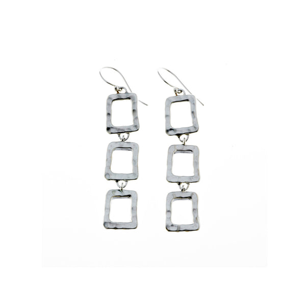 Mystical Pagoda Triple Open Cube Sterling Silver Earring - Cynthia Gale New York - 1