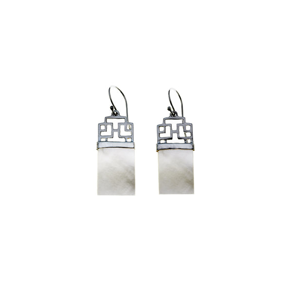 Mystical Pagoda Latticework Sterling Silver Earring - Cynthia Gale New York Jewelry