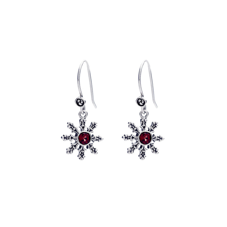 Dharmachakra Sterling Silver Garnet Love Earring - Cynthia Gale New York Jewelry