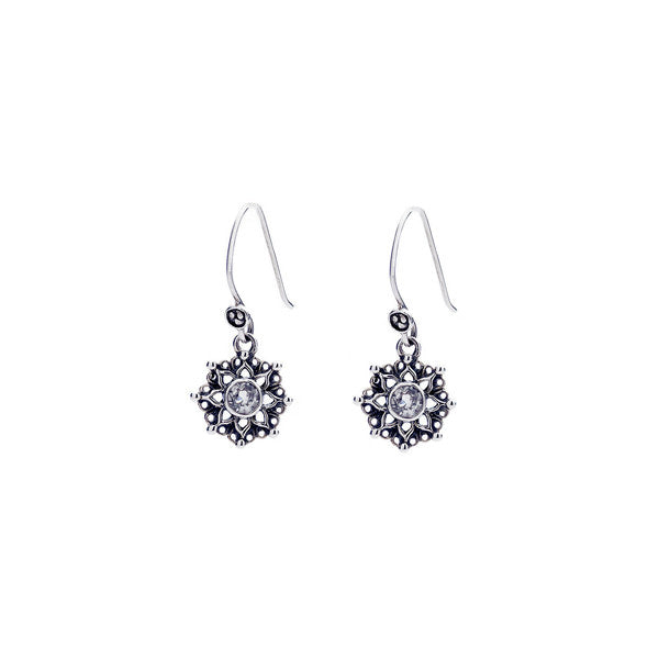 Dharmachakra Sterling Silver White Topaz Serenity Earring - Cynthia Gale New York Jewelry