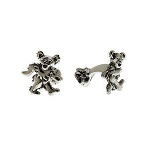 Grateful Dead Dancing Bear Sterling Silver Cufflinks - Cynthia Gale New York