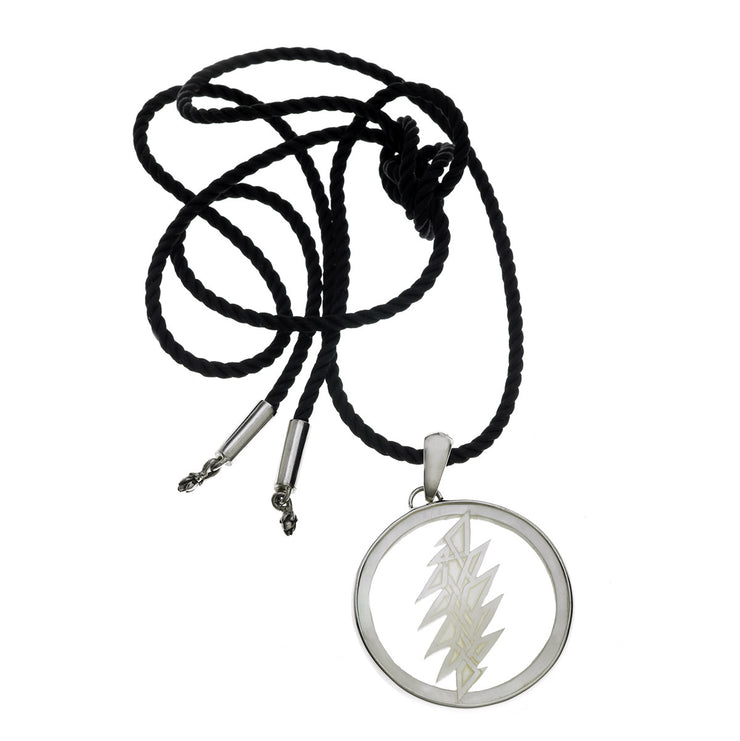 13 Point Lightening Bolt Sterling Silver Mother Of Pearl Cord Necklace - Cynthia Gale New York - 2