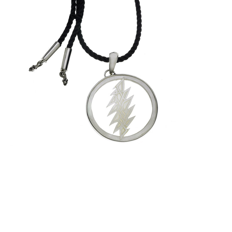 13 Point Lightening Bolt Sterling Silver Mother Of Pearl Cord Necklace - Cynthia Gale New York - 1