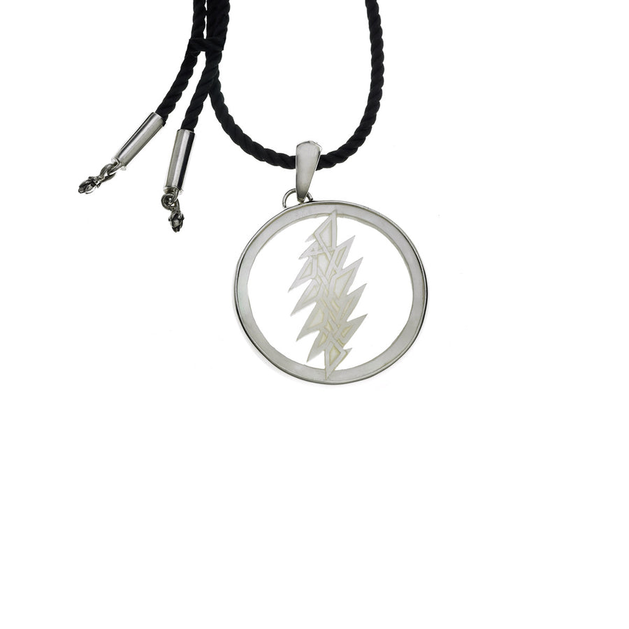 13 Point Lightning Bolt Sterling Silver Mother Of Pearl Cord Necklace