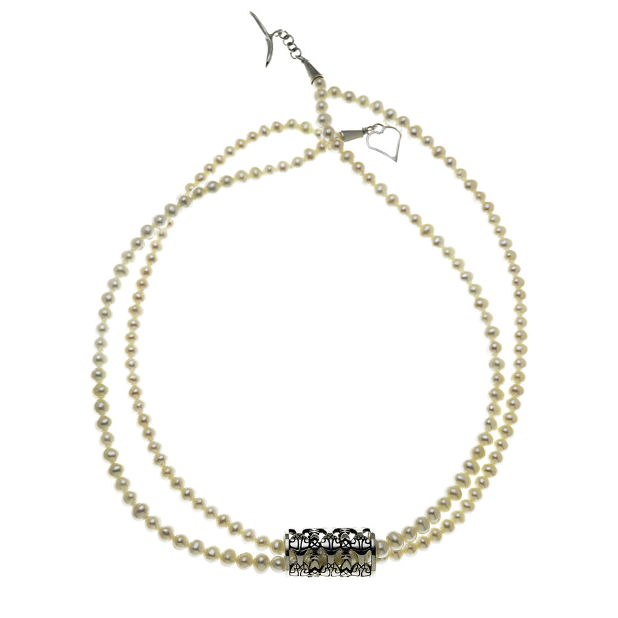 All The World's A Stage Sterling Silver White Pearl Necklace - Cynthia Gale New York Jewelry