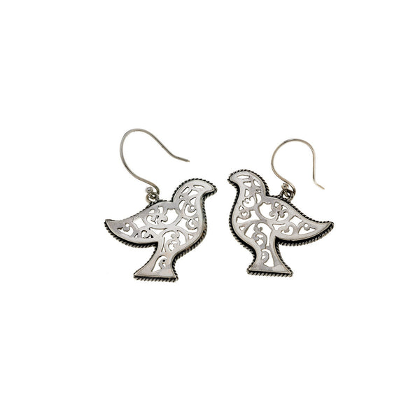 Jewish Museum Peace Dove Sterling Silver Drop Earrings - Cynthia Gale New York Jewelry
