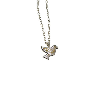 Peace Dove Sterling Silver Mother Of Pearl Necklace - Cynthia Gale New York Jewelry