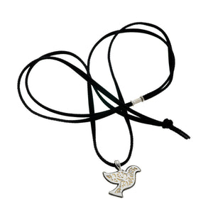 Peace Dove Sterling Silver Mother Of Pearl Suede Necklace - Cynthia Gale New York Jewelry