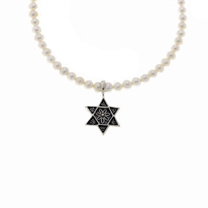 Star Of David Sterling Silver White Pearl Necklace - Cynthia Gale New York Jewelry